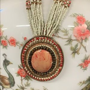 Chico's large medallion beaded boho necklace